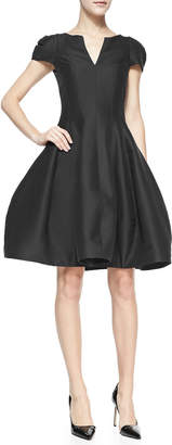 Halston Reo Maggie Tulip-Skirt Split-Neck Dress