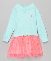 U.S. Polo Assn. Mint & Pink Cowl Neck Dress - Toddler