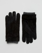 Dents Hereford Suede Gloves In Black
