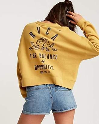 RVCA Women's Rose State Fleece Pullover Sweatshirt Yellow