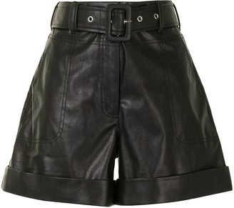 Tanya Taylor Turn-Up Hem Faux Leather Shorts