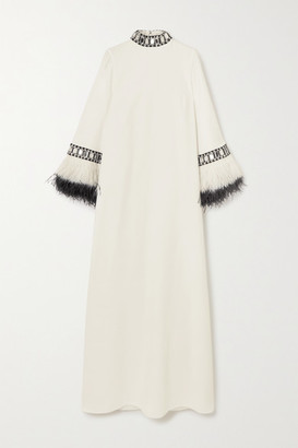 Andrew Gn Feather And Crystal-embellished Cady Gown - Off-white
