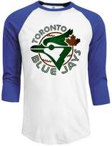 Rong T-shirts Men's MLB Toronto Blue Jays Jays TOR Baseball Logo 3/4 Sleeve Raglan T-Shirt ...