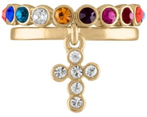 Rachel Roy Gold-Tone 2-Pc. Set Crystal Cross & Multicolor Stone Band Stackable Rings