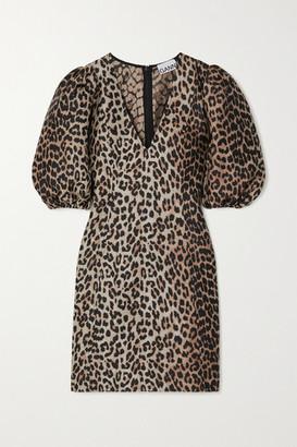 Ganni Leopard-jacquard Mini Dress - Leopard print