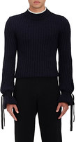 J.W.Anderson Men's Alpaca-Blend Tie-Cuff Sweater-NAVY