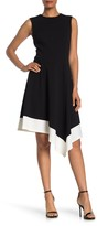 Calvin Klein Colorblock Asymmetrical Hem Dress