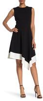 Calvin Klein Colorblock Asymmetrical Hem Dress