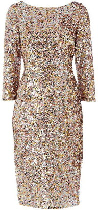 Adrianna Papell Long sleeve sequin embellished dress