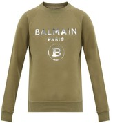 Balmain Mirrored Logo-print Cotton Sweatshirt - Mens - Khaki