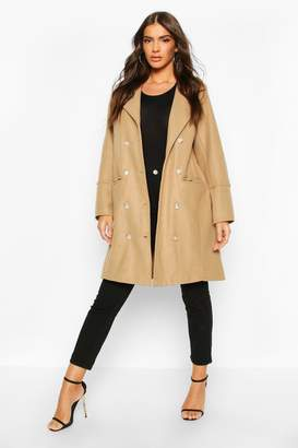 boohoo Military Button Double Breasted Wool Look Coat