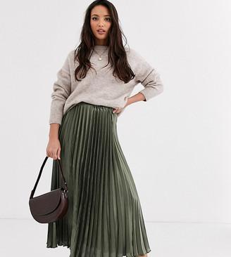 Asos Tall DESIGN Tall satin pleated column midi skirt-Green