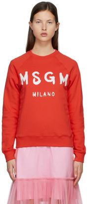 MSGM Red and White Brushed Logo Sweatshirt