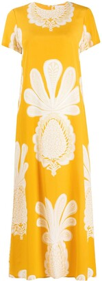 La DoubleJ Silk Pineapple Print Long Dress
