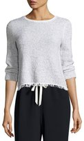 Theory Vendla Tweed Fringe-Hem Sweater