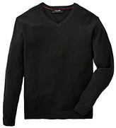 Black Label V Neck Textured Fine Knit Long
