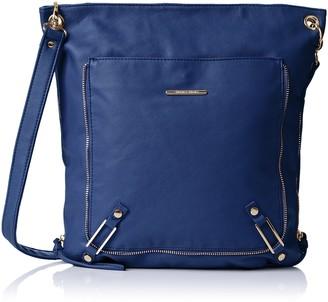 SWANKYSWANS Womens Eva Zipper Messenger School PU Leather Cross-Body Bag Royal Blue