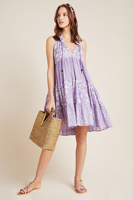 Ro's Garden Sofia Tiered Cover-Up Tunic By in Purple Size M