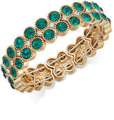 Charter Club Gold-Tone Green Stone Double-Row Stretch Bracelet, Created for Macy's