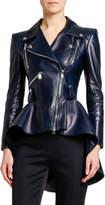 Alexander McQueen Leather Fit & Flare Biker Jacket