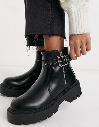 Glamorous chunky ankle boots in black