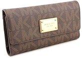 Michael Kors Women's Jet Set Leather Wallet Baguette