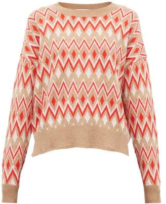 Allude Zig Zag-jacquard Wool-blend Sweater - Womens - Red Multi