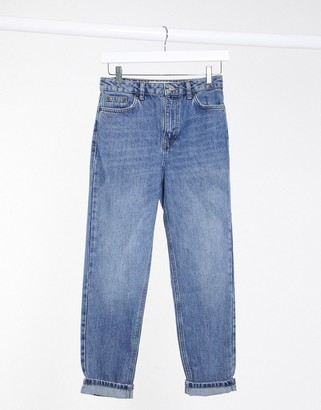 Topshop clean mom jeans in mid wash blue