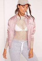 Missguided Satin Zipped Bomber Jacket Lilac