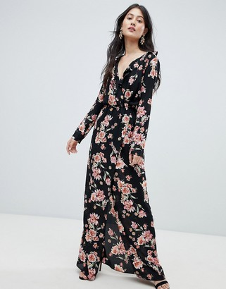 Oh My Love Frilled Neck Maxi Dress In Floral Print