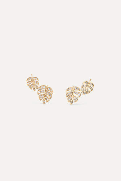 Sydney Evan Monstera 14-karat Gold Diamond Earrings