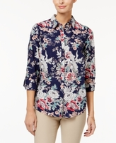 Charter Club Petite Cotton Floral-Print Roll-Tab Shirt, Created for Macy's