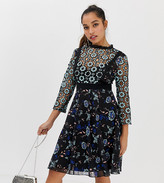 Little Mistress Petite all over floral lace midi skater dress in black multi