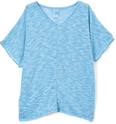Erge Turquoise Hacci V-Neck Tee - Girls