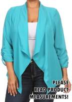 CurvyLuv.com Womens Plus Size Semi-Sheer Blazer Asymmetrical Open Front Fold Over Lapel Jacket