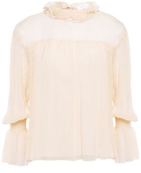 See by Chloe Ruffle-trimmed Silk-georgette Blouse