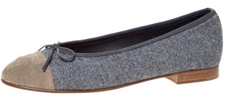 Chanel Two Tone Wool And Suede Bow Cap Toe Ballet Flats Size 38