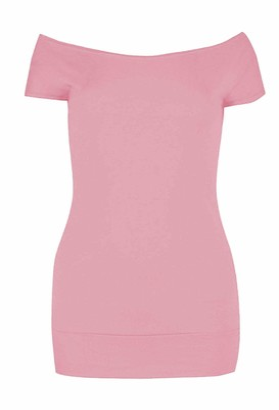 janisramone Womens Ladies New Off Shoulder Plain Short Sleeve Stretchy Band Slim Fit Bardot T-Shirt Summer Top Royal Blue