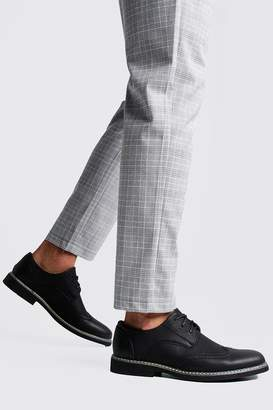 boohoo Leather Look Brogues With Contrast Stitch