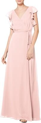 #Levkoff Ruffle Sleeve Chiffon Wrap Gown