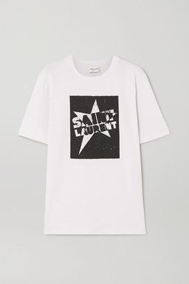 Saint Laurent Printed Cotton-jersey T-shirt - Ivory