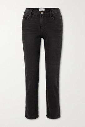 Frame Le Nouveau Cropped High-rise Straight-leg Jeans - Black