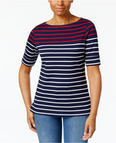 Karen Scott Striped Boat-Neck Top, Created for Macy's