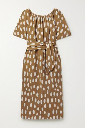 Mara Hoffman Aliz Belted Fil Coupe Organic Cotton Midi Dress - Tan