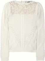 Valentino Lace and cable-knit wool and cashmere-blend sweater