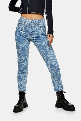 Topshop Womens Mid Blue Lazer Print Straight Jeans - Mid Blue