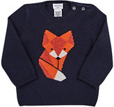Barneys New York Fox-Intarsia Cashmere Sweater-NAVY