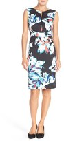 Ellen Tracy Women's Floral Print Scuba Sheath Dress