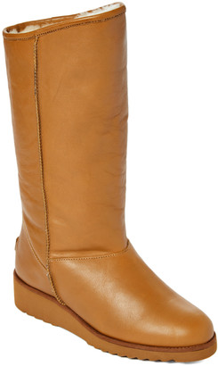 Australia Luxe Collective Women's Cold Weather Boots CHESTNUT - Chestnut Fur-Lined Joshua Tall Leather Wedge Boot - Women
