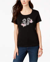 Karen Scott Cotton Embellished Graphic-Print T-Shirt, Created for Macy's